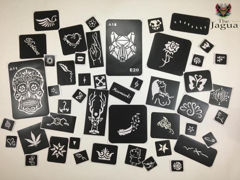 set 10 hình khuôn vẽ The Jagua size S đến XXl có thể dùng được cho cả mực xăm henna và inkbox cao cấp