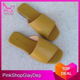 (Có mã miễn ship) Dép nữ, dép quai ngang PinkShopGiayDep kiểu dáng độc đáo mới lạ chất da xịn mềm êm bền đẹp thumbnail