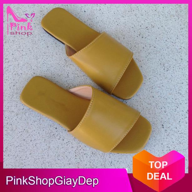 (Có mã miễn ship) Dép nữ, dép quai ngang PinkShopGiayDep kiểu dáng độc đáo mới lạ chất da xịn mềm êm bền đẹp giá rẻ