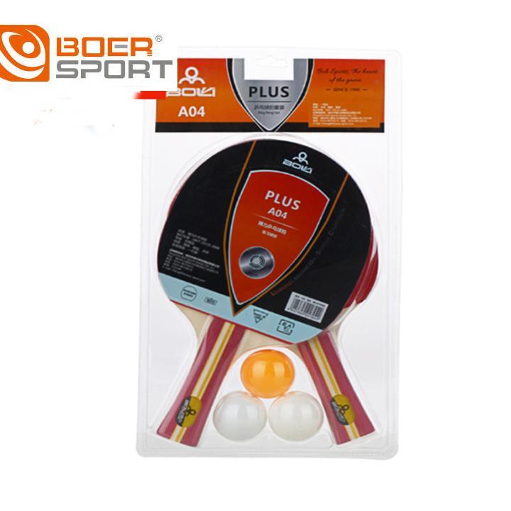 Bộ 2 vợt bóng bàn Boer A04 tặng kèm 3 bóng Nhật Bản