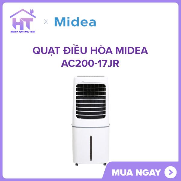 Quạt điều hòa Midea AC200-17JR Hoạt động với công suất 200 W, phạm vi làm mát rộng từ 25 - 30 m². Tặng kèm 2hộp đá khôlàm tăng độ mát cho phòng ở.