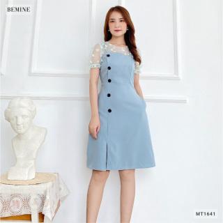 Đầm đính nút lệch phối cổ BEMINE MT1641XANH thumbnail