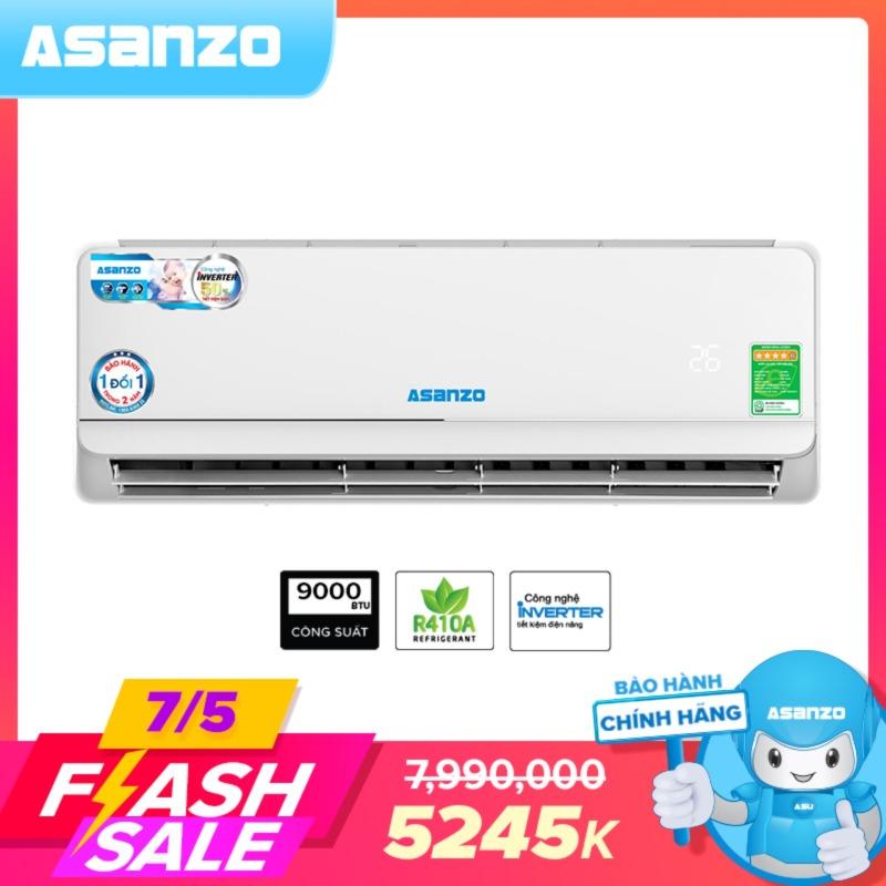 Máy Lạnh Asanzo K09A Inverter 9000BTU (1.0HP) Phù Hợp Diện Tích 15m² (Siêu Tiết Kiệm, Làm Lạnh Nhanh, Tự Điều Chỉnh Nhiệt Độ, Lọc Không Khí) - Bảo Hành 2 Năm