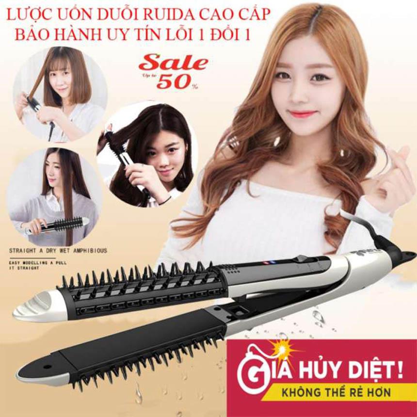 Máy duỗi tóc, Máy uốn tóc xoăn RUIDA tạo kiểu tóc, Máy uốn tóc duỗi tóc hàn quốc, máy bấm tóc, máy uốn xù tạo kiểu tóc 3 chức năng: duỗi, uốn, bấm tạo kiểu tóc, giá rẻ