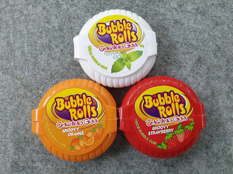 [Hot] Combo 3 hộp kẹo Singum ( cao su ) cuộn siêu dài Hubba Bubba bubble rolls chewing gum dài 180cm vị Dâu Tây, vị Cam, Vị Bạc Hà ( Mẫu mới  - Nội địa Thái Lan - Xách tay Thái ) )