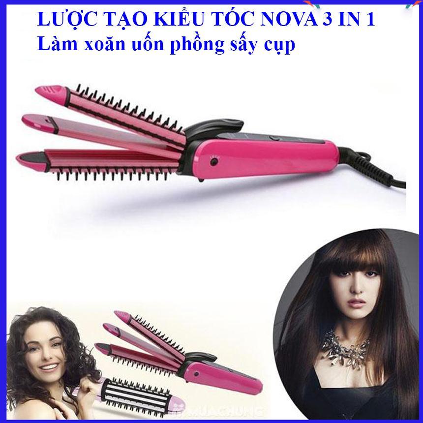 Lược điện uốn tóc đa năng NOVA 3 IN 1, Máy uốn duỗi mini tạo kiểu tóc, máy uốn tóc xoăn nova 3 in 1, Lược uốn tóc làm xoăn, uốn phồng, sấy cụp duyên dáng, Bảo hành uy tín 1 đổi 1 toàn quốc giá rẻ