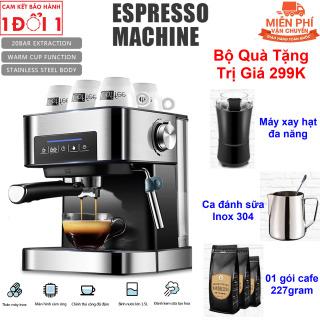 Quà Tặng Trị Giá 299K - Máy pha cà phê có ống làm nóng đánh sữa, màn hình cảm ứng thông minh, áp lực cao làm cà phê nồng đậm máy pha chế cà phê inox không gỉ - Máy pha Cà phê Esspresso Bán tự động CM6863 Dùng Cho Gia Đình, Văn Phòng thumbnail