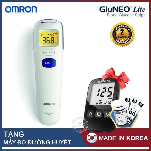 Nơi bán Nhiệt kế đo trán Omron MC 720 (Trắng) + Tặng máy đo đường huyết Gluneo Lite Hàn Quốc