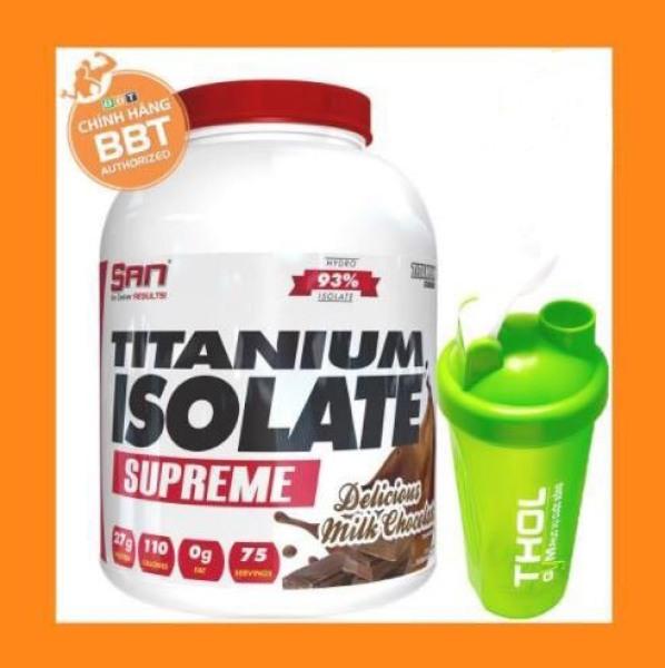 Thực phẩm bổ sung S.A.N Titanium Whey Isolate Supreme - Protein thuỷ phân tinh khiết hỗ trợ hấp thu nhanh - Tặng kèm bình lắc THOL màu sắc ngẫu nhiên cao cấp