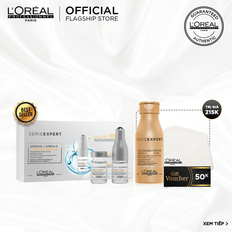 [Tặng Voucher 50k] Tinh chất giảm rụng tóc LOreal Professionnel Aminexil Advanced LOréal 10x6ml