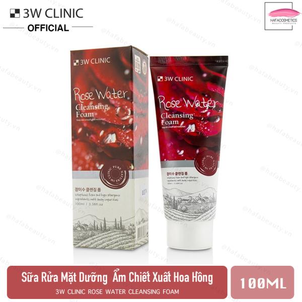 Sữa rửa mặt hoa hồng cấp nước dưỡng ẩm sâu 3W Clinic Rose Water Cleansing Foam 100ml