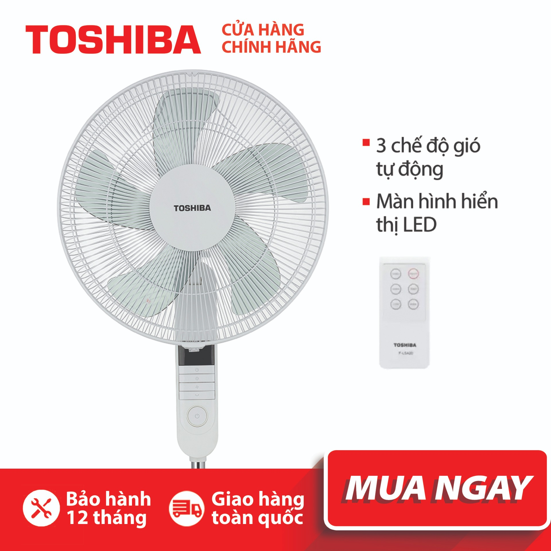 QUẠT ĐỨNG TOSHIBA F-LSA20(W)VN -  Điều khiển từ xa - 3 chế độ gió - Màn LED hiển thị - Hàng chính hãng, bảo hành 12 tháng