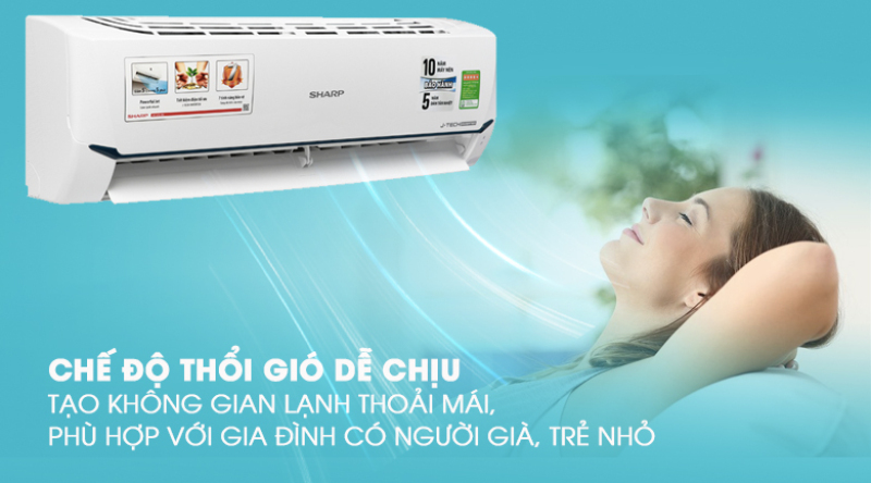Điều hòa Sharp Inverter 1 chiều R32 AH/AU-X9XEW 9000BTU, 1 HP  Thổi gió dễ chịu (cho trẻ em, người già), Hẹn giờ bật tắt máy, Làm lạnh nhanh tức thì, Tự khởi động lại khi có điện Dưới 15 m2 (từ 30 đến 45 m3)