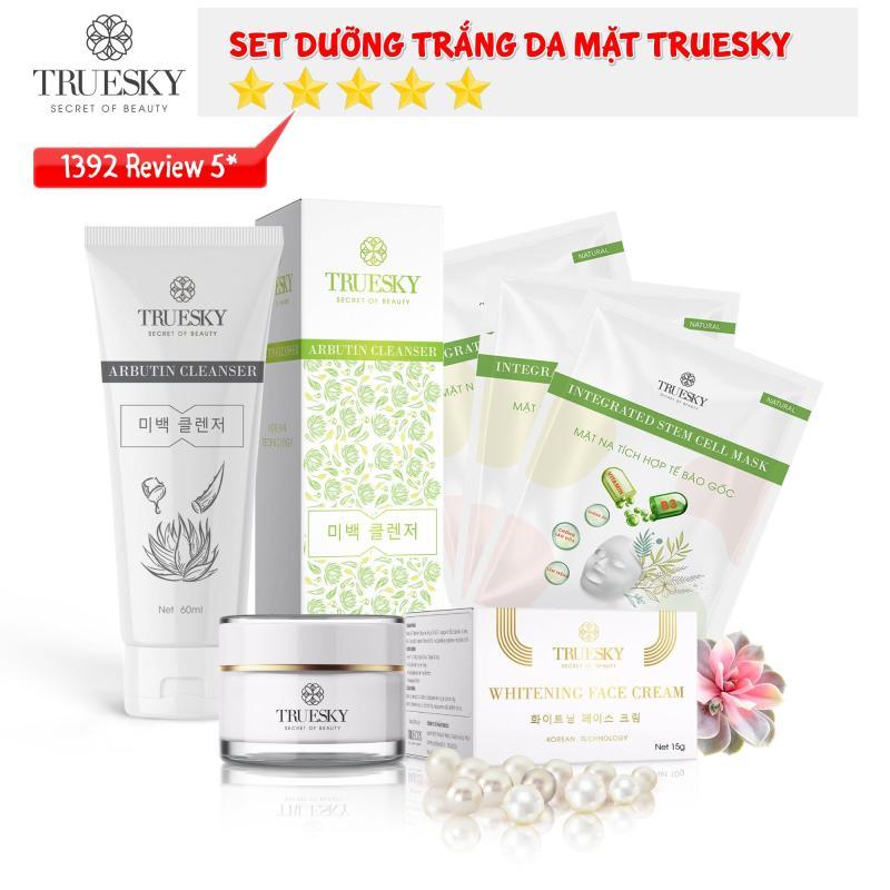 Bộ sản phẩm trắng da mặt Truesky P02 gồm 1 kem trắng da mặt 15g + 1 sữa rửa mặt nha đam 60ml + 3 miếng mặt nạ trắng da tế bào gốc Truesky giá rẻ