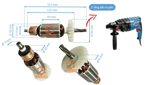 Rotor máy khoan bê tông 2-24 Trung Quốc tặng kèm chổi than cao cấp