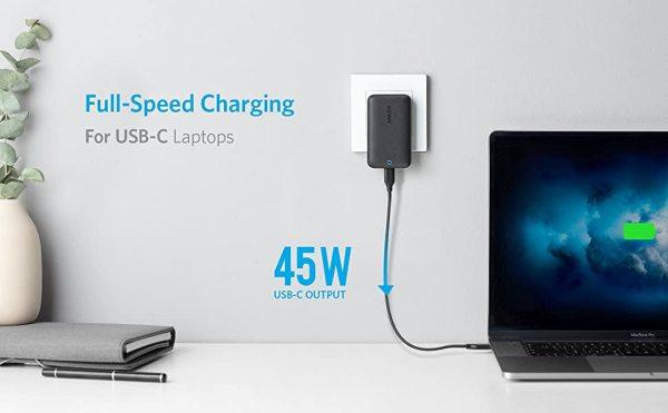 Bộ sạc nhanh Anker PowerPort Atom III 45W Slim Type C, cho Máy tính xách tay USB-C, MacBook, iPhone/Ipad (A1267)