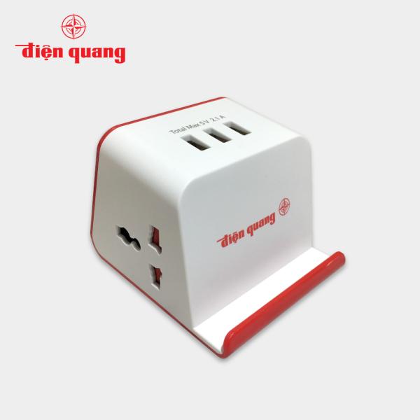 Ổ cắm Điện Quang ĐQ ESK 2WR 23-3U (2 lỗ 3 chấu, 3 USB, dây dài 2m, màu trắng đỏ) giá rẻ