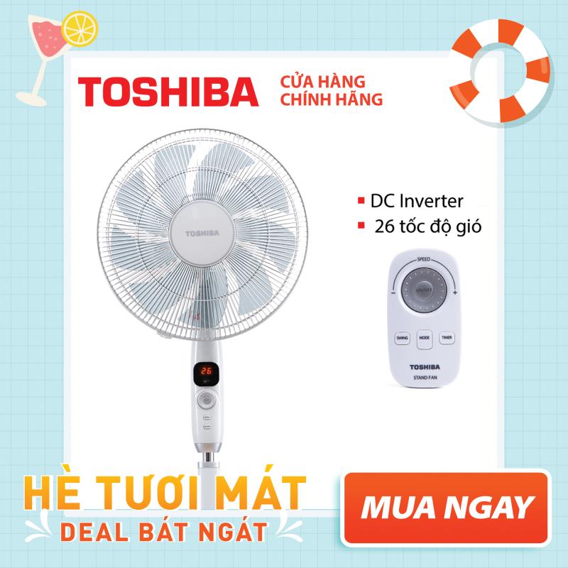 QUẠT ĐỨNG TOSHIBA F-LSD10(H)VN - Điều khiển từ xa núm xoay vô cực - 9 cánh - DC inverter tiết kiệm điện 70% - 26 tốc độ gió - Vận hành siêu êm - Màn hình LED hiển thị - Hàng chính hãng, bảo hành 12 tháng