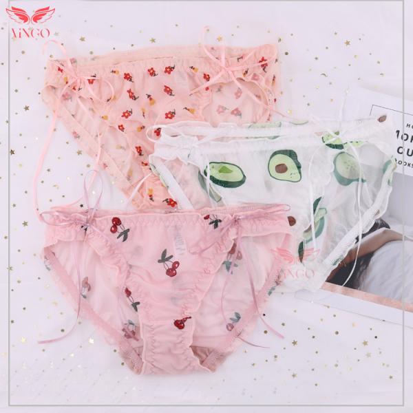 Quần lót nữ, quần lót ren mỏng xuyên thấu thoáng mát điểm nhấn nơ hai bên hông họa tiết đáng yêu ngọt ngào Vingo Q125 VNGO