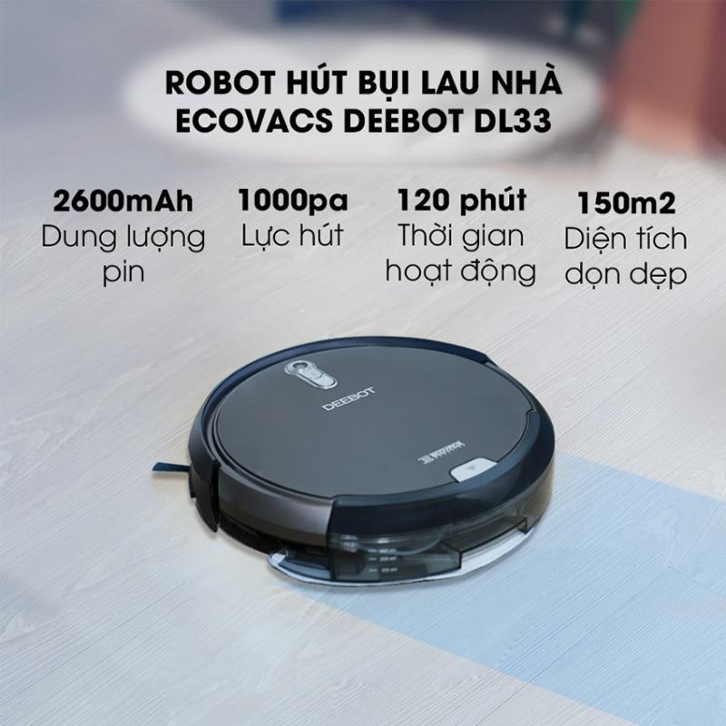 Robot hút bụi lau nhà Ecovacs Deebot DL33 là mẫu  robot có độ ồn nhỏ nhất trong các mẫu robot Ecovacs, HÀNG TRƯNG BÀY BẢO HÀNH 6 THÁNG