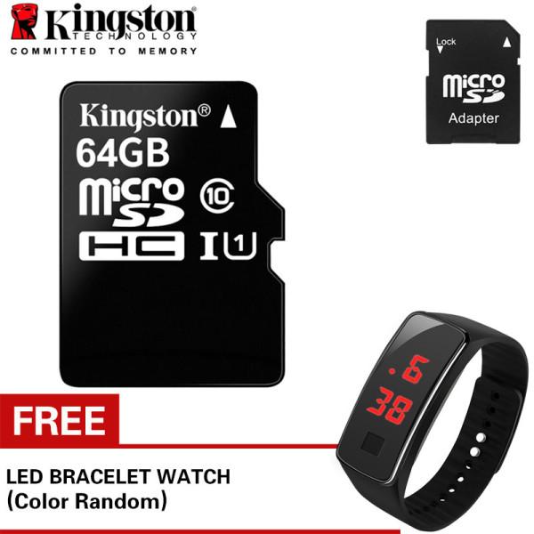 Bộ thẻ nhớ Kingston 64GB Micro SDHC C10 UHS và Adapter (Đen) +Đồng hồ led