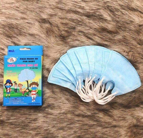 Hộp 10 cái Mask y tế cho bé 3 tháng đến 3 tuổi, màu xanh