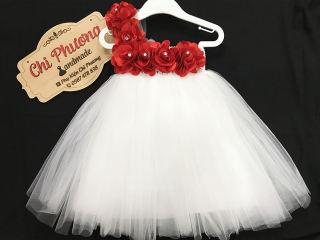 Đồ Bé Gái / Đầm Bé Gái / ĐẦm Công Chúa / Váy Công Chúa Mầu Trắng Hoa Đỏ Đính Đá