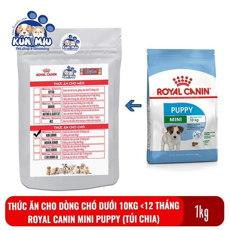 Thức ăn cho dòng chó dưới 10kg và dưới 12 tháng Royal canin Mini puppy gói chia túi zip 1kg