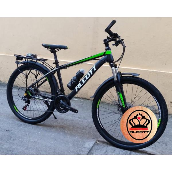 Phân phối Xe đạp địa hình Alcott MT06, khung sườn hợp kim THÉP LIỀN MẠCH cao cấp, trọng lượng 18.5kg, Vòng Bánh 26inches, Tay Đề SHIMING, Cùi Đề SHIMING, Tốc Độ 21, Màu Trắng Xanh Lá Đen