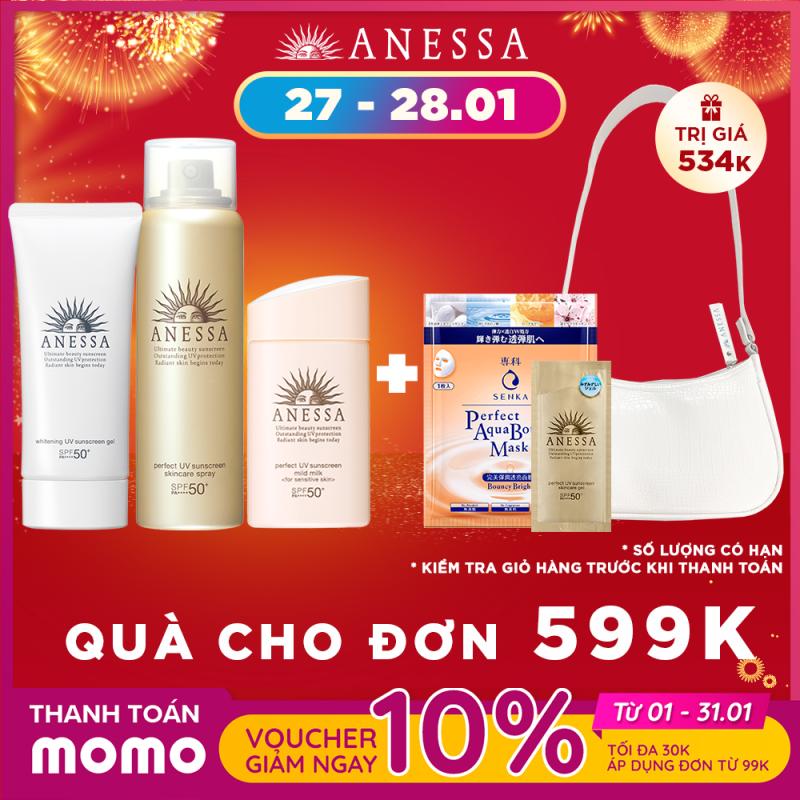 Bộ kem Chống nắng dành cho gia đình ( ANESSA Whitening UV Sunscreen Gel SPF 50+ PA++++, Spray SPF 50+ PA++++, Mild Milk SPF 35 PA+++ ) giá rẻ