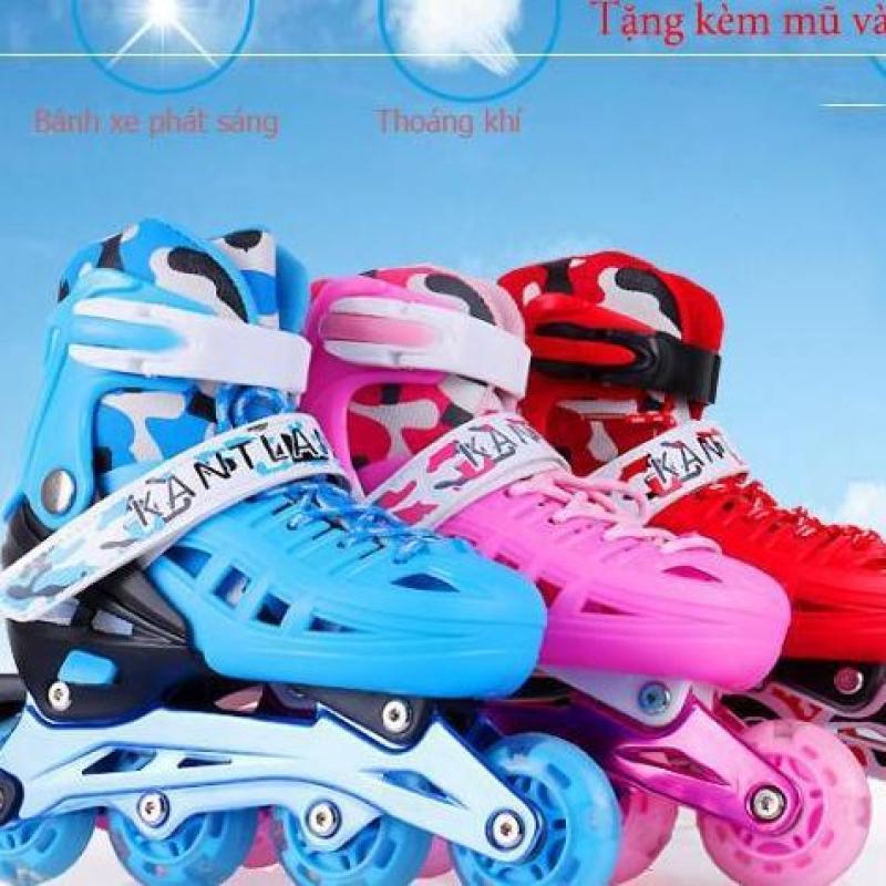 Phân phối Giay Truot Patin Tre Em, Giày Batin giá rẻ, Giày Patin trẻ em tặng mũ và đồ bảo hộ (5 đến 14 tuổi) bánh xe chất liệu cao su đúc chắc chắn, ma sát tốt (Quà tặng kèm số lượng có hạn)