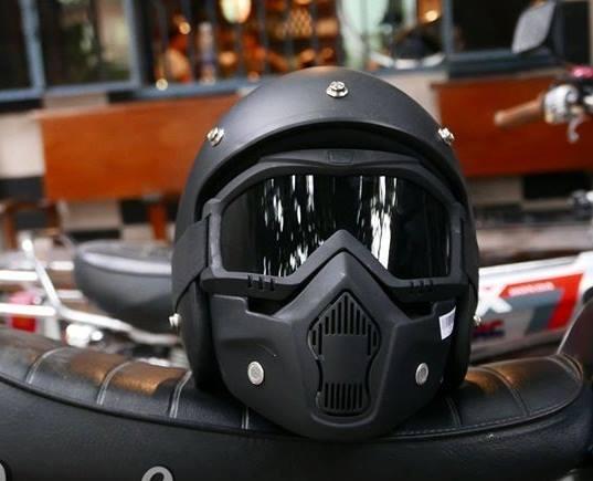 Combo 2 món full đen đi phượt siêu ngầu (mũ 3/4 + kính mặt nạ Beon Mask) Nhật Bản