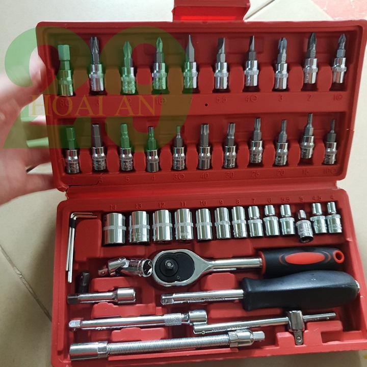 Bộ dụng cụ 46 chi tiết, bộ dụng cụ mở bu lông ốc vít đa năng