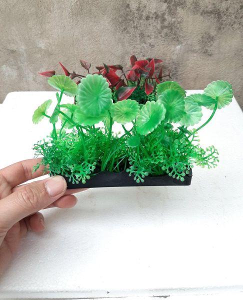 Cây nhựa trang trí bể cá: mẫu đế dài 12 cm
