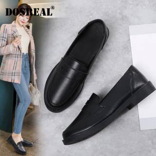 DOSREAL Giày Oxford Cho Nữ Giày Da Hàn Quốc Giày Lười Đế Bằng Thường Ngày Giày Lười Thời Trang Giày Nữ Cao Su Màu Đen Cỡ Lớn 35-41
