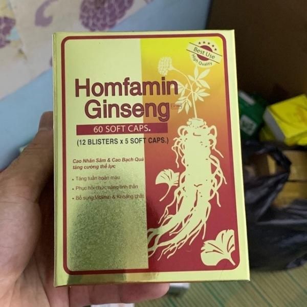 Homfamin ginseng cao nhân sâm cao bạch quả tăng cường thể lực hộp 60 viên, sản phẩm chất lượng, đảm bảo an toàn sức khỏe người sử dụng, cam kết hàng giống hình cao cấp