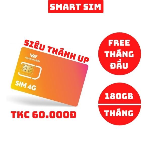 Sim 4G Vietnamobile Siêu Thánh Up có sẵn 60k trong TKC tặng 6GB/Ngày (180GB/Tháng) miễn phí gọi nội mạng - Smart Sim HC