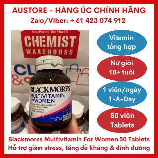 [Bill Úc, Date 02 2022] Blackmores Multivitamin for Women 50 Tablets - Vitamin tổng hợp Blackmore cho nữ giới, giúp bổ sung vitamin & khoáng chất với liều dùng 1 viên ngày thumbnail