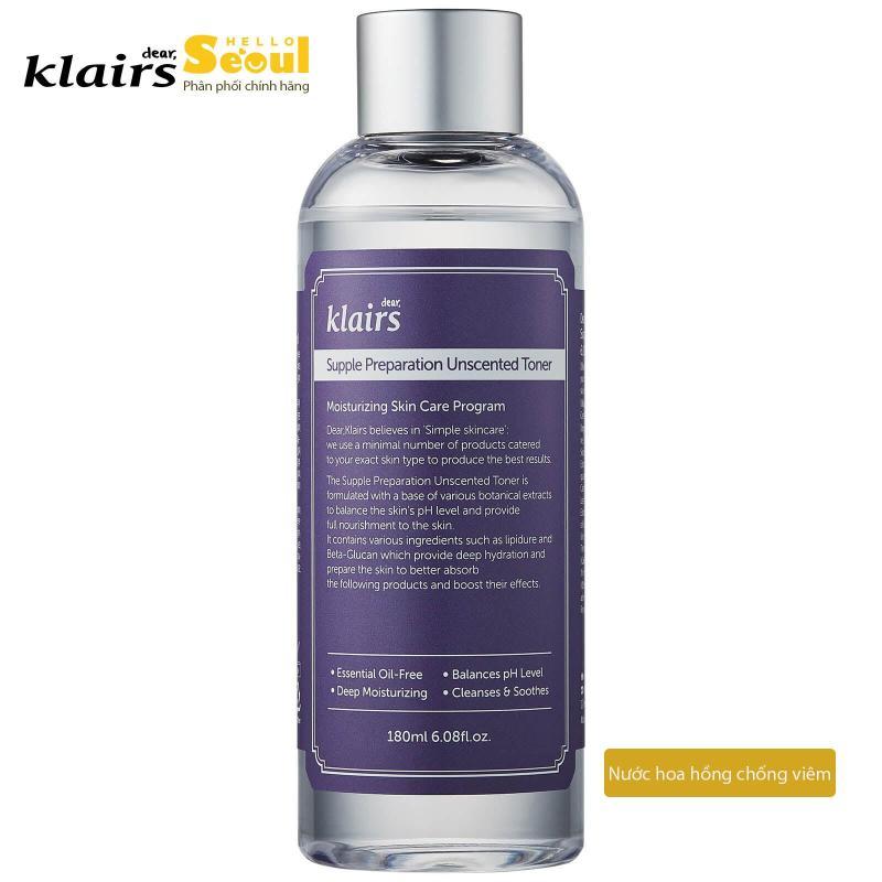 Nước hoa hồng chống viêm không mùi Klairs Supple Preparation Unscented Toner cao cấp