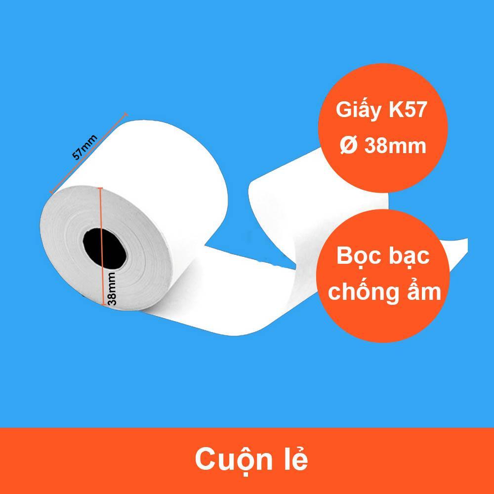 Mua 2 Cuộn Giấy In Nhiệt, In Bill K57/58 Bọc Bạc Phi 38 Cho Máy In Hóa Đơn GIN-K58A