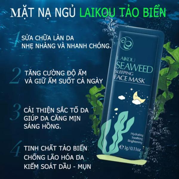 [HÀNG MỚI VỀ] Gồm 10 Gói Mặt Nạ Ngủ Tảo Biển LAIKOU SEASWEED SLEEPING FACE MASK - Dưỡng Ẩm, Phục Hồi, Làm Mịn, Kiểm Soát Dầu, Phù Hợp Mọi Loại Da