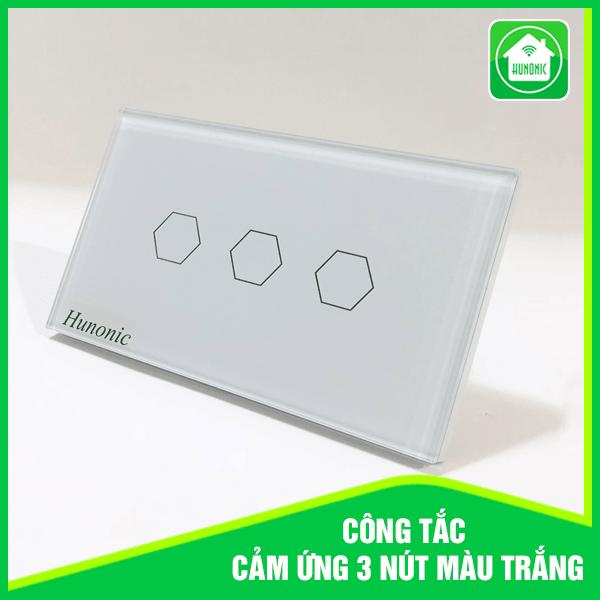 Công Tắc Cảm Ứng Hunonic 3 nút- kết nối wifi, bảo hành 1 đổi 1 trong 12 tháng , hotline hỗ trợ 0905323378.
