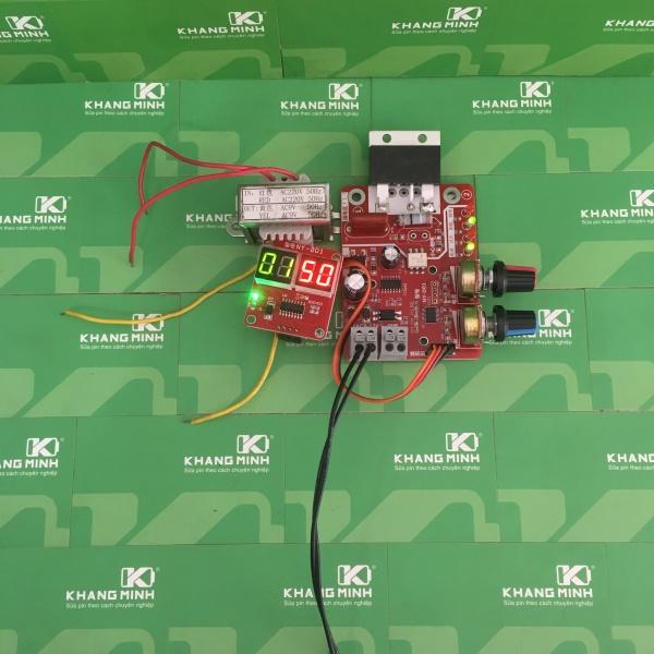 Timer máy hàn, 2 chiết áp chỉnh time và dòng, có màn hình LED, chế máy hàn pin