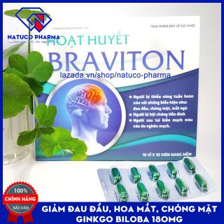Hoạt huyết dưỡng não BRAVITON Ginkgo 180mg Giảm đau đầu, hoa mắt, chóng mặt , hết rối loạn tiền đình - Hộp 100 viên chuẩn GMP Bộ y tế thumbnail