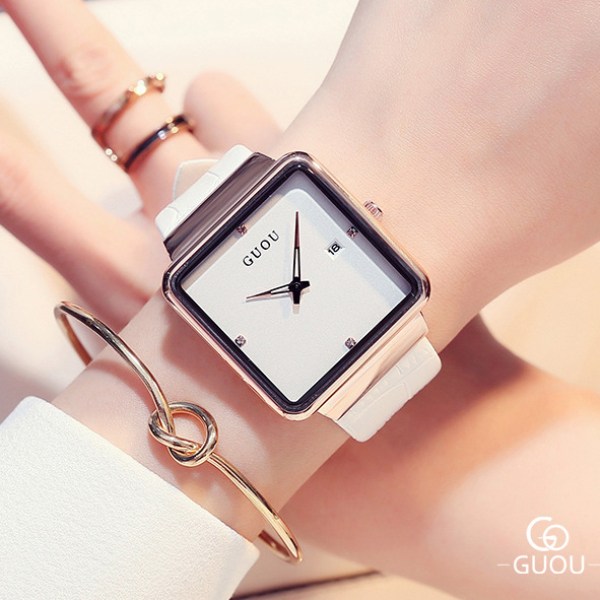 (GIÁ SỐC) Đồng hồ Nữ GUOU Dây Mềm Mại đeo rất êm tay - Kiểu Dáng Apple Watch 40mm, Chống nước bán chạy