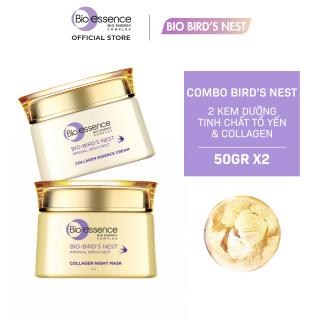 Bộ dưỡng da tươi sáng căng mọng Bio-Essence Bio-Bird's Nest (Kem dưỡng tinh chất tổ yến & Collagen 50gr + Mặt nạ ngủ Night Mask tinh chất tổ yến & Collagen 50gr)