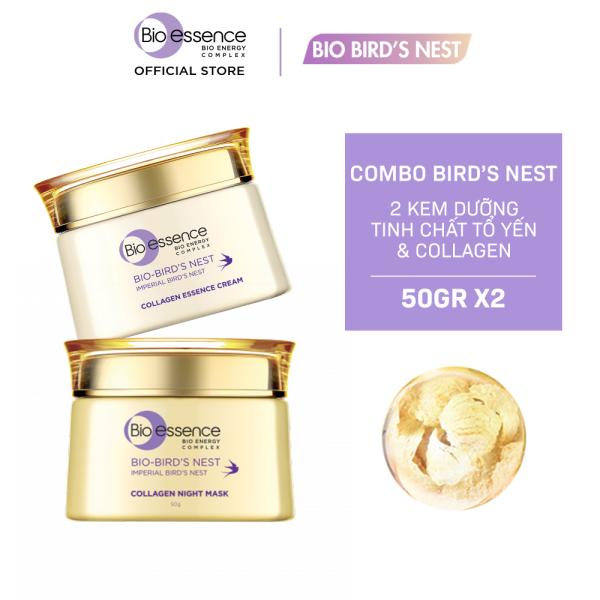 Bộ dưỡng da tươi sáng căng mọng Bio-Essence Bio-Birds Nest (Kem dưỡng tinh chất tổ yến & Collagen 50gr + Mặt nạ ngủ Night Mask tinh chất tổ yến & Collagen 50gr)