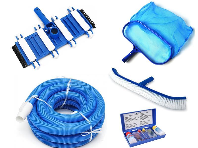 Combo 5 dụng cụ vệ sinh hồ bơi: Bàn hút, ống mềm 9m, vợt rác, bàn chải, bộ thử pH - Chlorine