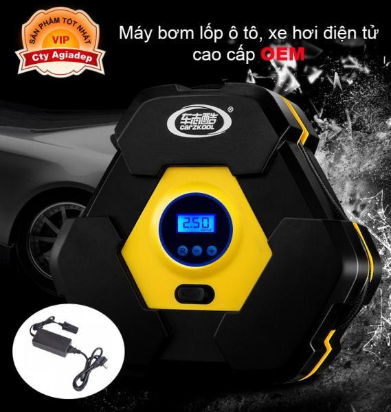 Bơm oto xe hơi xe máy (Lục giác - Tự ngắt) + Adapter để cắm điện trong nhà hay oto đều được