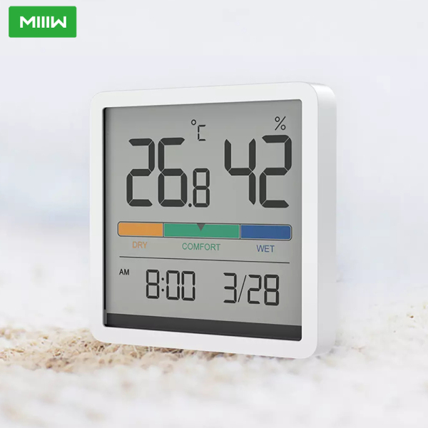 MIIIW Mute Temperature And Humidity Clock Home Indoor High-precision Baby Room C/F Temperature Monitor 3.34inch Huge LCD Screen 2 Ways Of Placing Apply to Bedroom Living Room